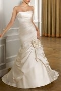 Strapless Flower Pick Up Court Train Mermaid Wedding Dress