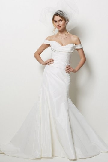 Dressesmall Sweetheart Off Shoulder Ruched Sweep Train Taffeta Mermaid Wedding Dress