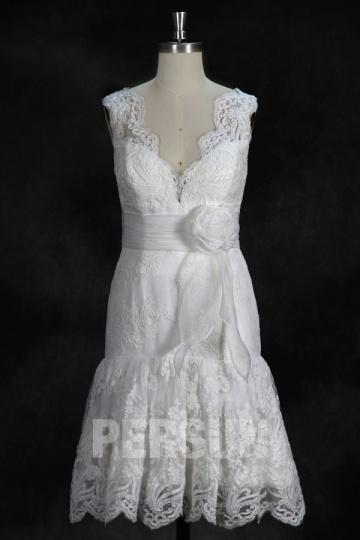 Klassisches V Ausschnitt Blume knielanges weißes Brautkleid Persunshop