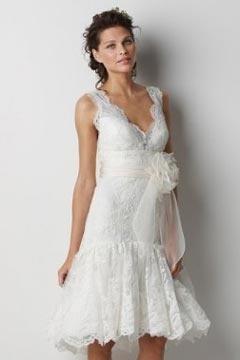 V neck Flower Appliques Knee Length White Bridesmaid Dress