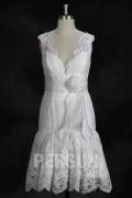Vintage Vestido de Dama de Honor Hasta la Rodilla con Escote en V Flores Blanco