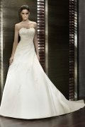 A line Strapless Applique Chapel Train Satin Wedding Dress