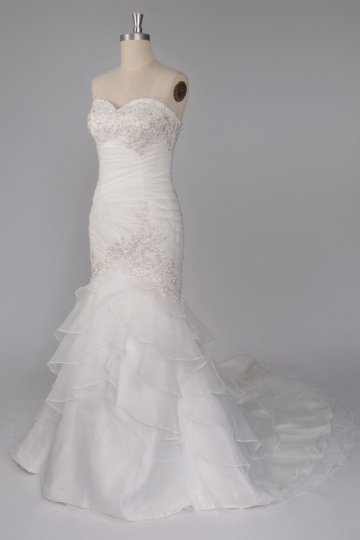 Ruched Ruffle Strapless Court Train Mermaid Wedding Dress