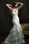 Strapless Ruched Ruffle Court Train Mermaid Wedding Dress
