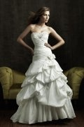 A-line Strapless Pick Up Chapel Train Ivory Wedding Dress