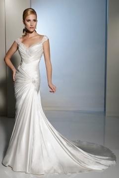 Elegant V Neck Beading Lace Up Court Train Ivory Wedding Dress