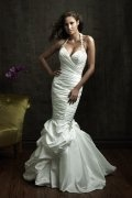 Sweetheart Ruched Pick Up Court Train Wedding Dress