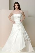 A-line Strapless Bow Ruched Taffeta Wedding Dress