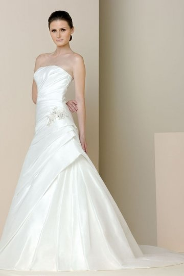 Princess Beaded Ruched Strapless A line Taffeta Wedding Dress