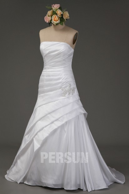 A line Strapless Beading Ruched Taffeta Wedding Dress
