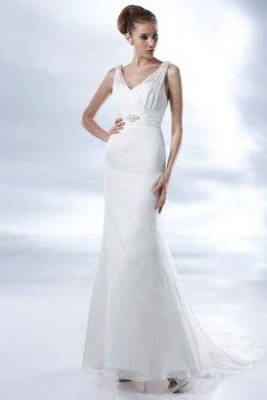 Cross Simple Chiffon V neck Applique Column Wedding Dress
