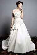 A line Sweetheart Beading Ruched White Satin Wedding Dress