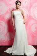 One Shoulder Beading Ruched White Chiffon Wedding Dress