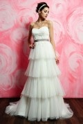 Elegantes A-Linie Herz-Ausschnitt Empire Brautkleider aus Tüll