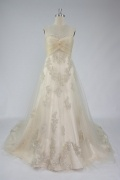 Ruching Lace Sweetheart Tulle A Line Beige Wedding Dress