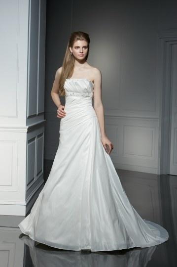 Schlichtes A-Linie Trägerloses Ärmelloses Brautkleider aus Taft Persun