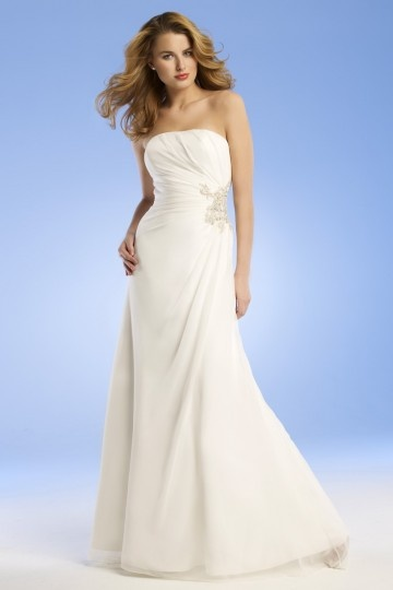 2013 New Beading Strapless Chiffon Beige Column Wedding Dress Dressesmall