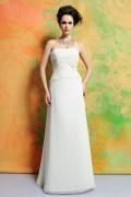 Modisch Trägerlos Chiffon Ivory A-Linie Bodenlang Brautkleider