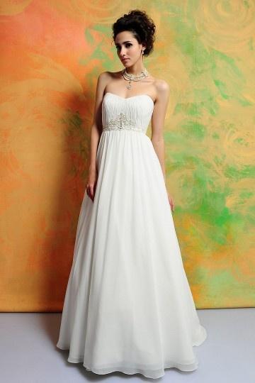 Schlichtes Herz-Ausschnitt weißes Brautkleider aus Chiffon Persun