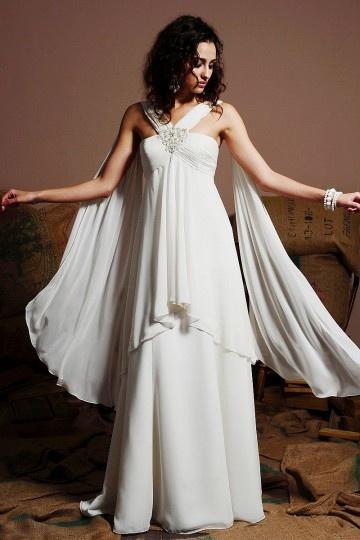 Chic A Line Halter Ivory Chiffon Empire Beach Maternity Wedding Dress