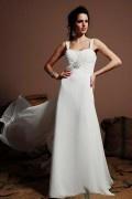 Elegantes Rückenfreies Etui-Linie Empire Brautkleider aus Chiffon