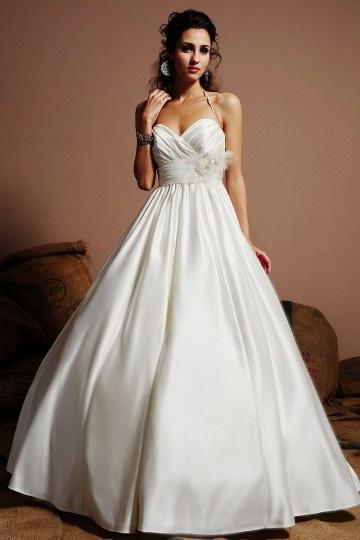 Sexy A-Linie Empire Ivory Brautkleider aus Satin mit Halter Persun