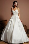 Ruching Halter Satin Ivory A Line Wedding Dress