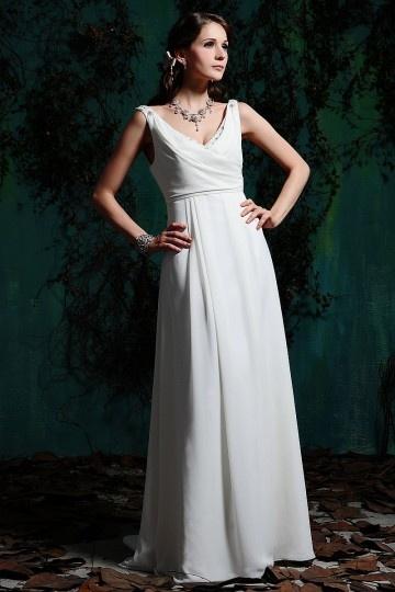 Chic Etui-Linie V-Ausschnitt Ärmelloses Brautkleider aus Chiffon Persun