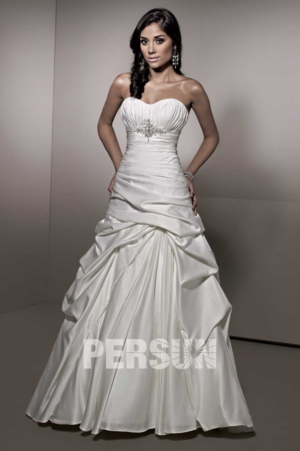 Cheap a line sweetheart pleated wedding dress with pick up for Pick up skirt wedding dresses