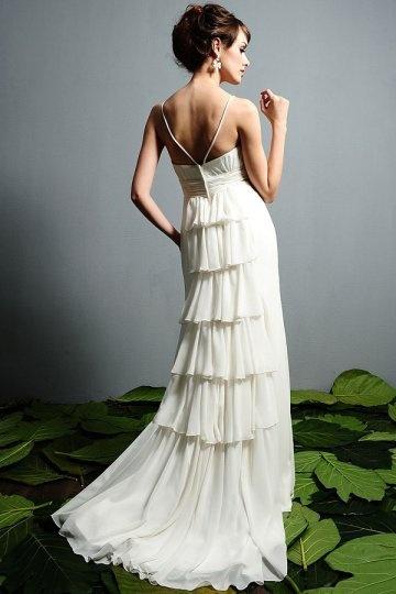 Flower Ruffle Back Sweetheart Sheath Chiffon Wedding Dress