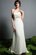 Sheath Sweetheart Flower Chiffon Wedding Dress with Ruffle Back
