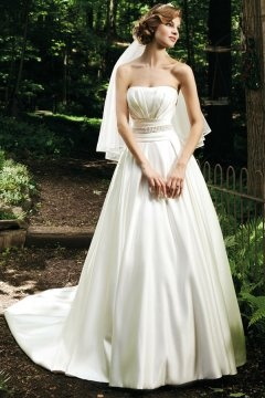 A line Strapless Ruching Beading Satin Wedding Dress