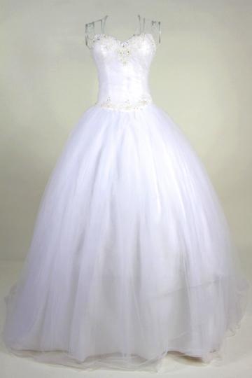 Beading Sweetheart A line Tulle Wedding Dress