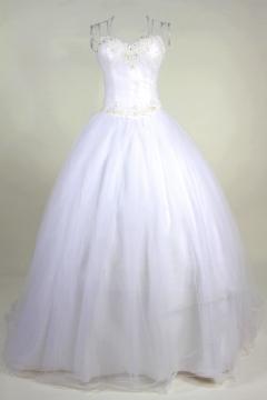 Robe de mariée en dentelle en tulle à A-ligne décolletée en coeur ornée de bijoux