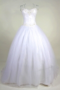 A line Sweetheart Beading Lace Up Tulle Wedding Dress