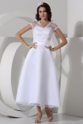 A line Sweetheart Applique Lace Ankle Length Organza Wedding Dress