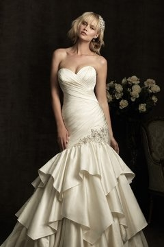 Wivenhoe Satin Sweetheart Ruching Tiers Beige Wedding Dress