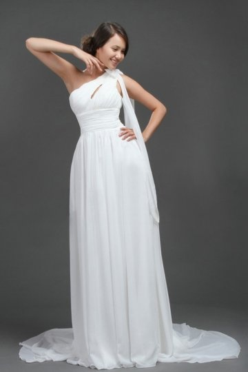 One Shoulder Pleats Empire Bowknot Chiffon Wedding Dress
