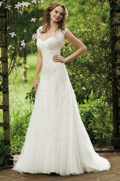 Lace Sweetheart A line Tulle Wedding Dress