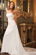Sweetheart Applique Ruched Taffeta Wedding Dress