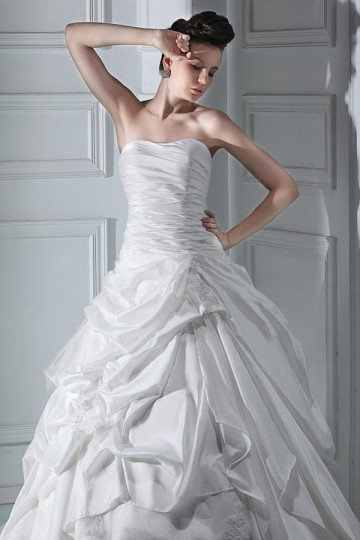 A Line Sweetheart Beige Taffeta Wedding Dress With Pick Up Skirt