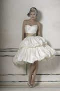 Ball Gown Sweetheart Beaded Ivory Taffeta Short Wedding Dress