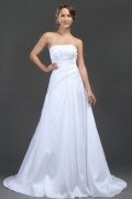 Simple A line Strapless Applique White Taffeta Wedding Dress