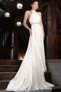 Halter Beaded White Chiffon Wedding Dress