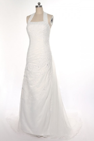 Ivory Ruched A line Organza Wedding Dress