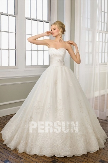 Dressesmall Embroidery Lace Sweetheart Organza Ball Gown Wedding Dress