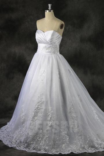 Bodenlanges A-Linie Herz-Ausschnitt Brautkleider aus Organza Persun