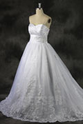 Embroidery Lace Sweetheart Organza Ball Gown Wedding Dress