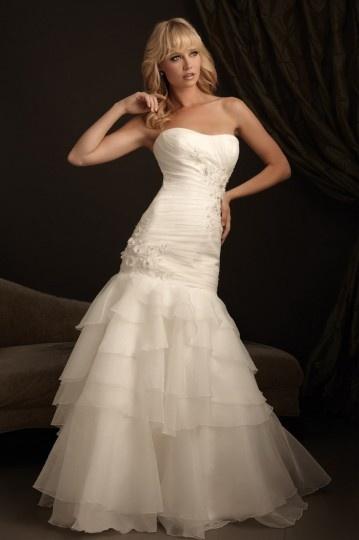 Elegantes Sweetheart Meerjungfrau Ivory Brautkleider aus Organza Persun