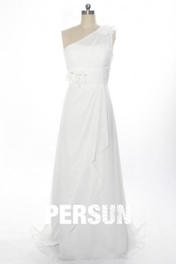 Elegantes langes Ein Schulter A-Linie Brautkleider aus Chiffon Persun